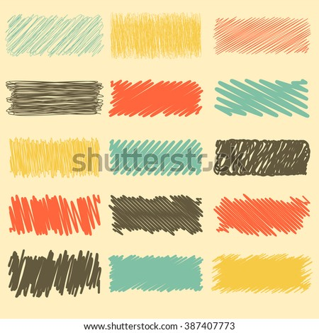 Vector collection of retro scribbled lines with hand drawn style of red, yellow, black and blue color - stock vector