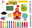 Vector Collection of School Supplies and Images - EPS10 - stock vector