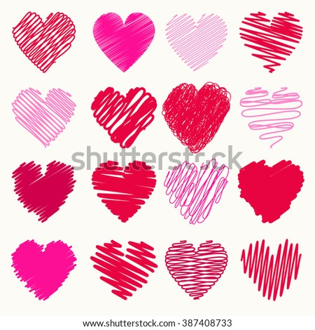 Vector collection of scribbled valentine hearts with hand drawn style of red and pink color - stock vector