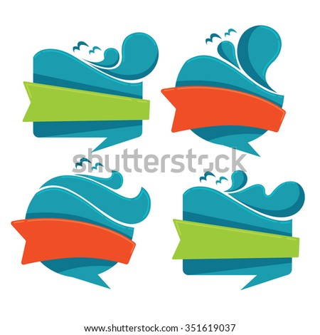 vector collection of sea water stickers and emblems - stock vector