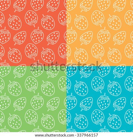 vector collection of seamless repeating strawberry patterns - stock vector