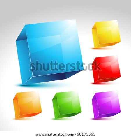 vector collection of six crystal colorful cubes - stock vector