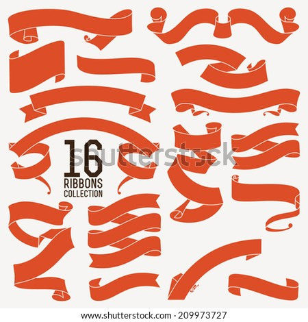 Vector collection of sixteen decorative retro looking red text ribbons, strips and tapes of different shapes | Large vector set of decorative ribbons for your text  - stock vector