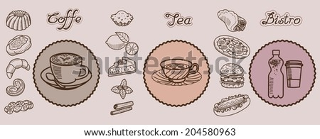 vector collection of sketches on the theme of food and drinks - stock vector