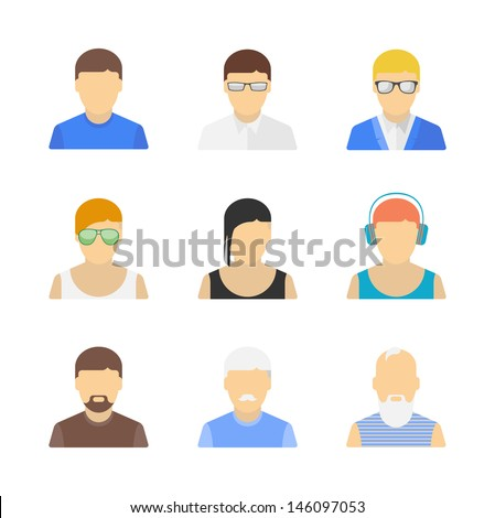Vector collection of stylish handsome male characters in modern flat design. Isolated on white background.  - stock vector