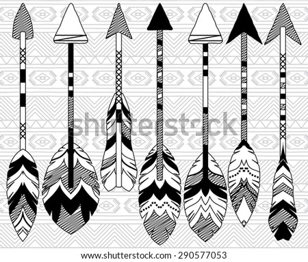 Vector Collection of Stylized Tribal Feather Arrows - stock vector