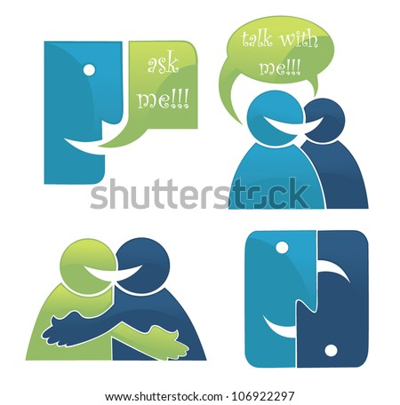 vector collection of talking, speaking and communication icons, signs and symbols - stock vector