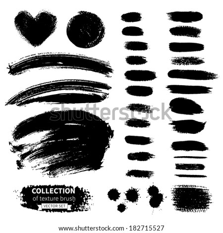 Vector collection of texture brush. Hand-drawn watercolor and ink elements - stock vector
