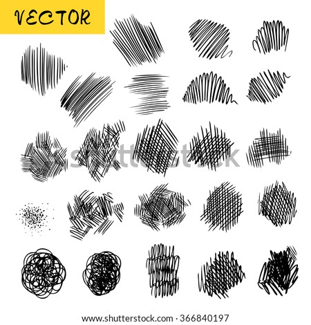 Vector collection of the sketchy textures of ink lines, dotes and hatching. Set of the hand drawn pencil textured elements for design, painting, web-design, background. - stock vector