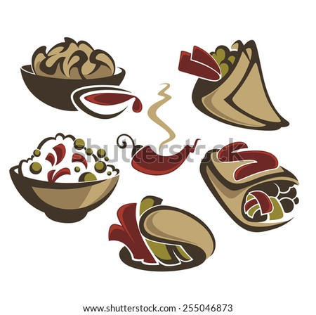 vector collection of traditional mexican fast food - stock vector