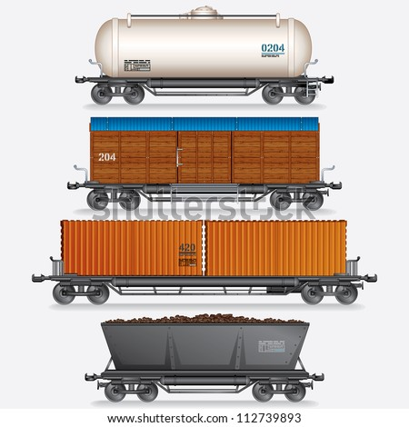 Vector Collection of Train Cargo Wagons, Tanks, Cars. - stock vector