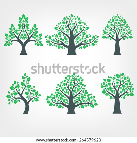 Vector Collection of Tree Silhouettes - stock vector