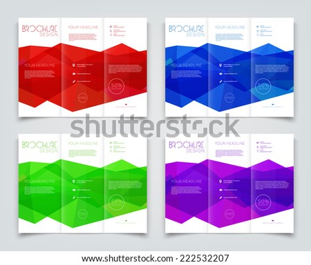Vector collection of tri-fold brochure design templates with bright polygonal background on white - stock vector
