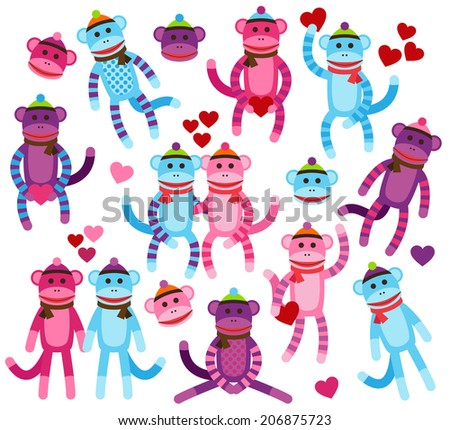 Vector Collection of Valentine's Day Themed Sock Monkeys - stock vector