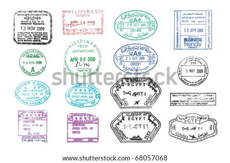 vector collection of various clear passport stamps - stock vector