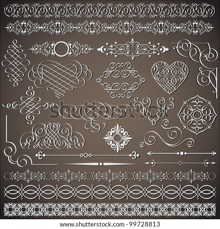 Vector collection of vintage design elements - stock vector