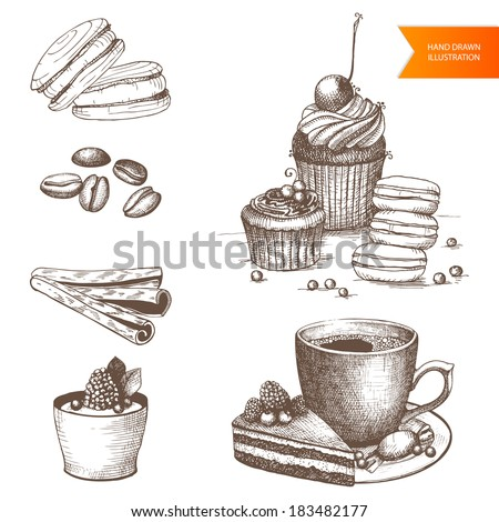 Vector collection of vintage hand drawn coffee and dessert illustrations isolated on white - stock vector
