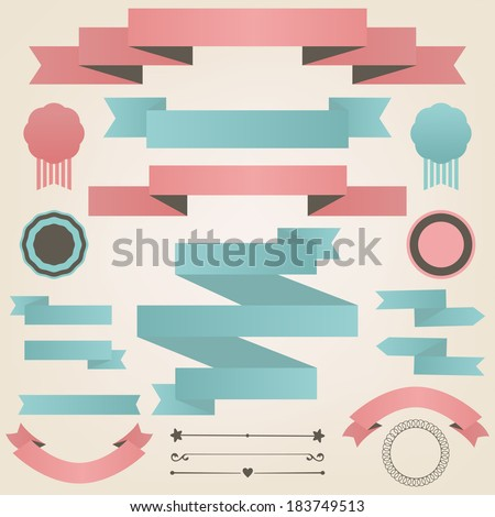 Vector collection of  vintage objects and signs. Set of holiday decorative elements in retro style - stock vector