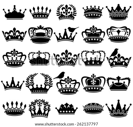 Vector Collection of Vintage Style Crown Silhouettes - stock vector
