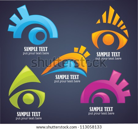 vector collection of vision and eyes symbols and icons - stock vector