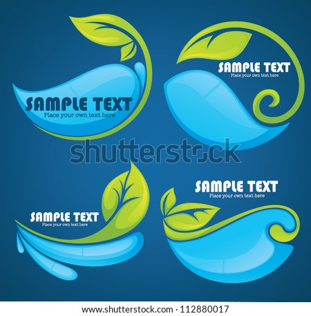 vector collection of water and leaves stickers and symbols on dark blue background - stock vector