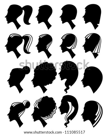 vector collection of woman head and hairstyle silhouettes - stock vector