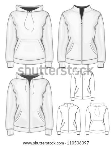 Vector collection of women's different sweatshirts - stock vector