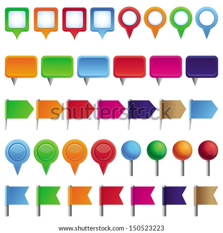 Vector collection with pins and marks for map in different colors - stock vector