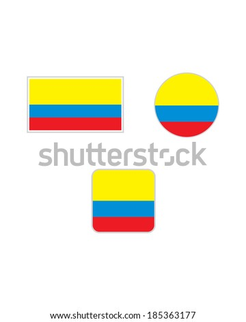 Vector Colombian Flag and Icon Set - stock vector