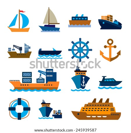 vector color boat and ship icons on white background - stock vector