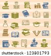 vector color book icons set on color background - stock vector