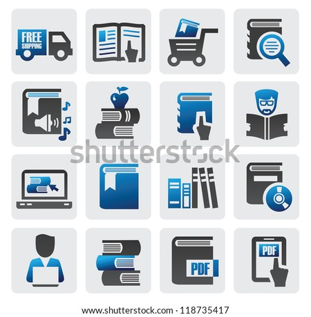 vector color book icons set on gray - stock vector