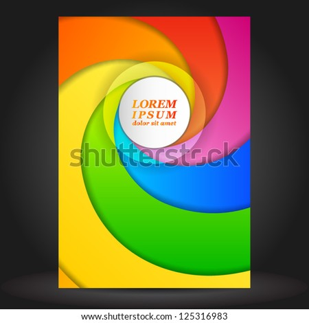 Vector color brochure template design with spiral. EPS 10 - stock vector