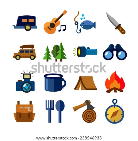 vector color camping theme icons on white background - stock vector