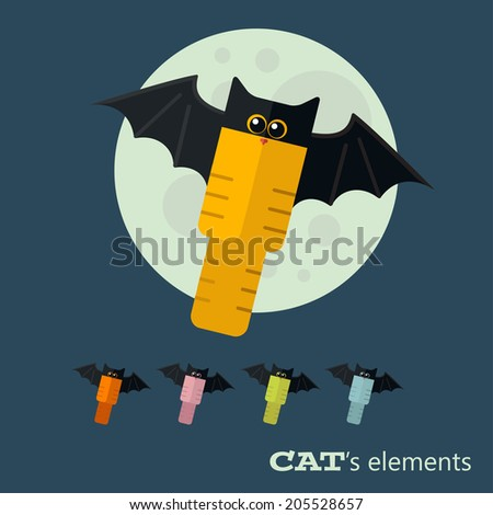 Vector color cats flat elements. Eps 10 - stock vector