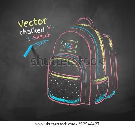 Vector color chalk drawing of school bag. - stock vector