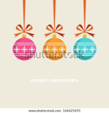 Vector color Christmas balls with ribbon and bow. Original design element. Simple festive label. Greeting, invitation cute card with lettering - Merry Christmas. Decorative illustration for print, web - stock vector
