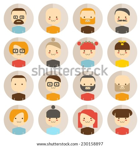 Vector color circle icon set avatar people  - stock vector