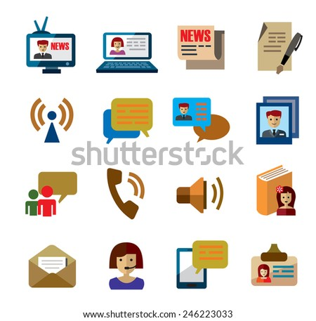 vector color communication icons on white background - stock vector