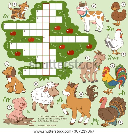 Vector color crossword, education game for children about farm animals - stock vector
