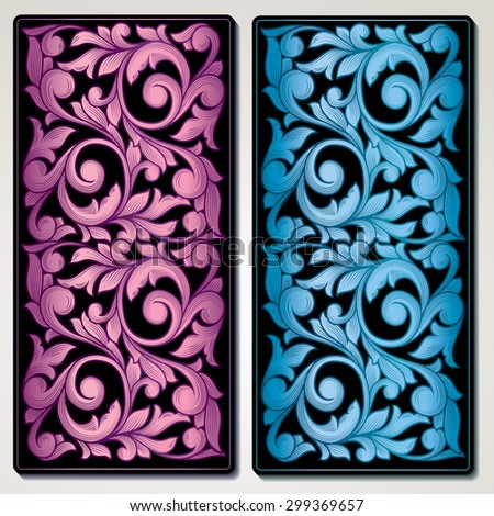 Vector color decorative vintage panel - stock vector