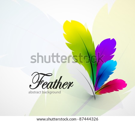 Vector color feathers abstract background - stock vector