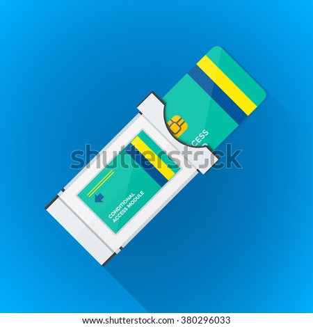 vector color flat design satellite conditional-access module chip smart card illustration long shadow isolated blue background - stock vector
