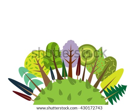 Vector color forest card. Various trees and bushes colorful wood cartoons flat style. Different simple trees and shrubs on white background. Design Semicircle half-round ball sphere. Eco environment   - stock vector