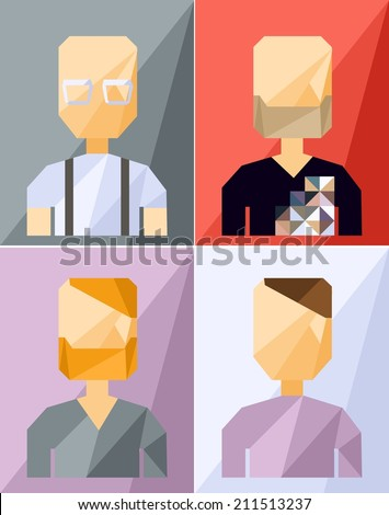 Vector color geometric set avatar people  - stock vector