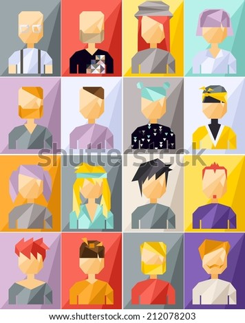 Vector color geometric set of avatar people  - stock vector
