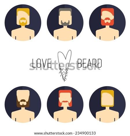 Vector color icon set avatar barber beard mans. Love beard. - stock vector