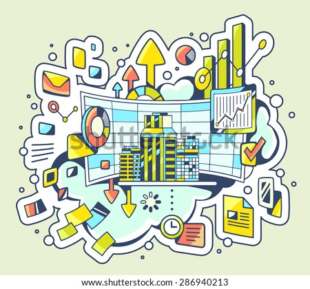 Vector color illustration of analytical work on light background. Hand draw line art design for web, site, advertising, banner, poster, board and print.  - stock vector