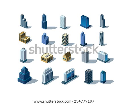vector color illustration of isometric buildings map - stock vector