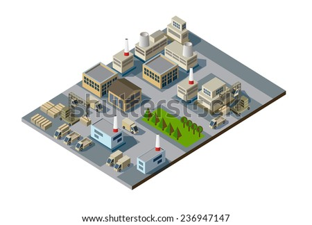 vector color illustration of isometric factory map - stock vector